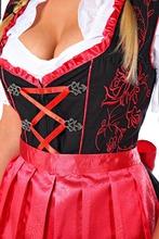 Satin red Apron Drindl Custom Design Trachten Oktoberfest Bavarian Traditional Dirndl For Women