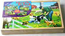 4*28 pieces new Farms wooden Jigsaw puzzles