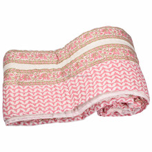 Cotton Printed Patchwork Reversible Throw Quilt