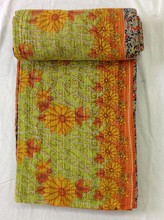 CottonKantha Old Queen Quilted Indian Bedspreads Bed Cover Bed Throw Bed Blanket