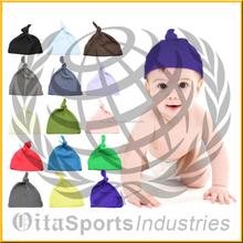 Sky Blue Color 100% Cotton Adjustable Baby Knot Hat