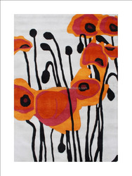 Hand Made Tufted Pencil Grey Tulip Flower New Zealand Blend Wool Rug