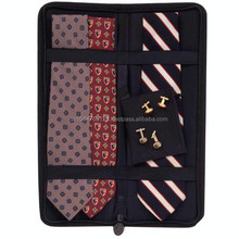 Cheap Wholesale Genuine Leather Tie Case / Leather Tie Case With Cufflings Holder / Black Zip Around Tie Case