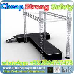 Hot sale Shenzhen factory China Cheap CE,SGS ,TUV cetificited Cheap aluminium stage fashion show stage entertainment truss