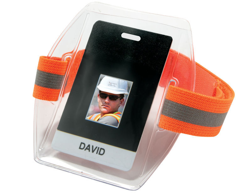 Clear Sia Security Reflective Green Arm Band Photo Id Card Case ...