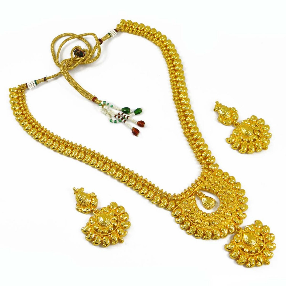 18K Gold Plated Necklace Earring Set Temple Collection Indian Wedding ...