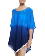 Royals Salt Water coverup in ombre crepe with crochet trim Tunic Caftan kaftan for sexy lady