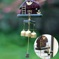 1pc Fashion Style Mushroom House Wind Chime Copper Wood Garden Ornament Aeolian Bell outdoor Necessary decoration for home
