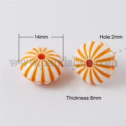 Colorful Acrylic Beads, Craft Style, Pumpkin, Orange, 14x8mm, Hole: 2mm