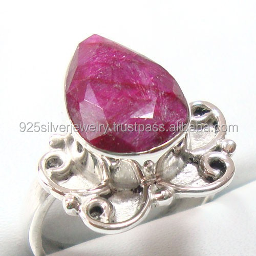 Indian Ruby Silver Ring Wholesale Value 925 Silver Jewelry