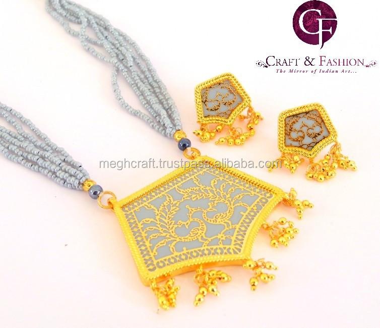 Grey Thewa Fashion Jewelry Thewa Art Fashion Pendant Set