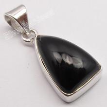925 Sterling Silver Dazzling BLACK ONYX Triangle GEMSTONE ROYAL Pendant 2.7 CM