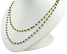 One Foot Jewellery Making Supplies Black Onyx Beaded With Gold Plated Rosary Chain JS168