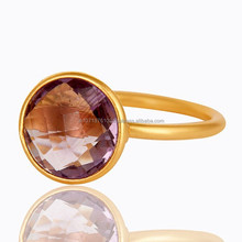 New Arrival Fashion Silver Jewellery, Fashionable Amethyst gemstone Vermeil Gold Plated Ring