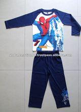 100 algodón de los muchachos de todo el cuerpo impreso pijamas largos fijados