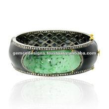 Oro plata diamante tallado de piedras preciosas esmalte brazalete de jade de diseño diamante pulsera de plata de oro brazalete