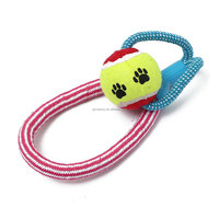 Wholesale Braided Bone Knot Cottons Rope Chews Pet Puppy Dogs Toy Tennis Ball Products Playing