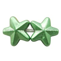 Colorful Acrylic Beads, Spray Painted, For Christmas, Star, Green, Size: about 10.5mm long, 9.5mm wide, 4mm thick MACR-922-3-19