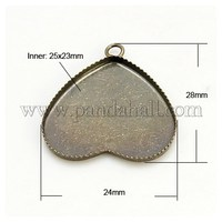 Brass Blank Pendant Trays, Setting for Cabochon, Heart, Nickel Free, Antique Bronze, 28x24x2mm, Hole: 2mm KK-G125-AB-NF