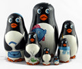 Pinguinos lindos muñecas rusas de madera de anidación matrioska babuska juguetes hechos a mano recuerdos animales aves marinas
