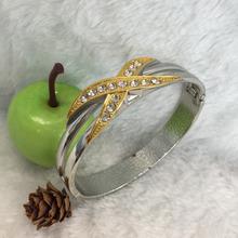 Chian manufacturer Titanium silver grain gold plated gemstone bangle,rainbow natural aura quartz crystal / top quality Wholesale