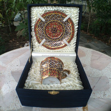 Vintage Antique Hand Made Gold Royal Porcelain Coffee Tea Set in Silk Case Cover