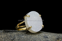 falak gems Druzy ring gold plated ring statement oval bridal natural gemstone cocktail ring