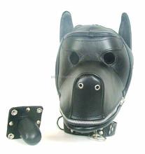 Pvc Leather Bondage Dog hood /Fetish puppy mask/blindfold/adult fun sex toys, sex toys