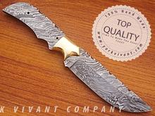 Hunting Knife, Custom Handmade Damascus Steel Fixed Blank Blade YV-534 Full Tang & Full Damascus