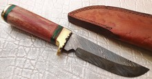 Custom Hand Made Damascus Blade 9 Inches Hunting Knife with Leather Sheath