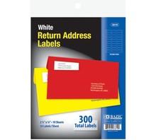 "BAZIC 3/4"" X 2 1/4"" White Return Address Labels (300/Pack)"
