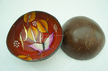 Beautiful vietnam coconut bowl hand painting coconut bowl for gifts red color lacquer coconut shell bowl