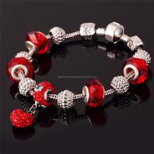 2015 Women accessories heart shaped shamballa charm bead bracelet