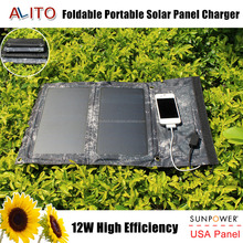 12W portable outdoor waterproof multifunction foldable solar panel charger for mobile phone hiking travling business