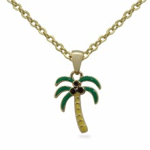Coconut Tree pendant Silver or Gold tone jewelry necklace pendant