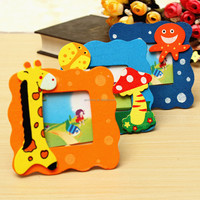 Wholesale Lovely Cartoon Colorful Crea tive Novelty Magic Wooden children Baby Small Photo Frame Picture frame 9x9cm For Gifts