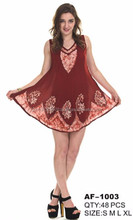 Women's Indian Apparel Short Sleeve Tunic Top Batik Style Assorted Colors AF-1003.