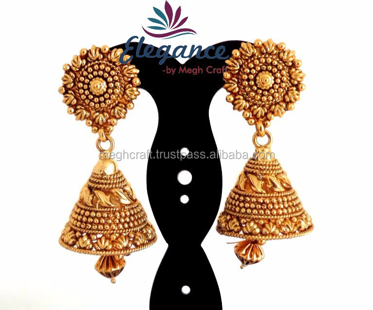 2015 GOLD PLATED JHUMKA EARRINGS-WHOLESALE SOUTH INDIAN GOLD PLATED ...