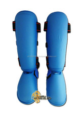 Karate / MMA Shin Guards Removable Instep Guards Blue Protective Pads Pair Size S / M / L available !