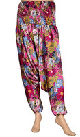 silk & soft designer silk sari harem pants from india