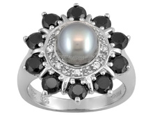 Wholsale Silver Jewelry Pearl Stone Rings, Black Onyx Silver Jewelry, Round Stones Rings