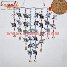Silver Cluster of Elephants with 8 Bells - Iron Sheet Cowbells for Home & Garden Outdoor Decoration