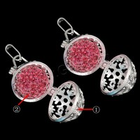 Ball Pendant Brass with brass bell & Rhinestone Clay Pave Round plated with rhinestone & hollow more colors for choice nickel l
