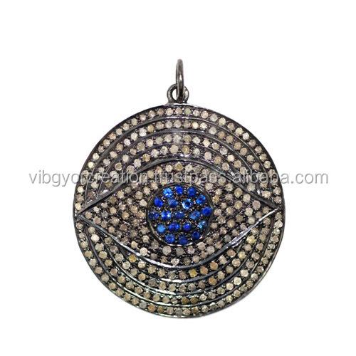 sapphire evil eye pave charm pendant blue