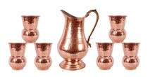 Handmade Copper Nickle Jug Pitcher with 6 Copper Glasses Indian Cup Yoga Health
