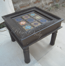 Rise only vintage style tile fitted hand carved center table design for restaurant furniture