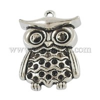 Owl Doctor Alloy Pendant Rhinestone Settings, Nickel Free & Lead Free, for Graduation PALLOY-21111-AS-NR