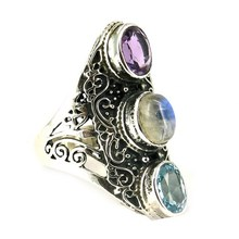 Glamorous Colors Amethyst_Blue Topaz_Rainbow Moonstone 925 Sterling Silver Ring, Silver Jewellery, 925 Silver Jewelry