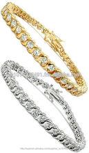 Diseñador de pulseras tenis en oro blanco o amarillo electrochapa y más