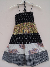 New dancing wear baby Halther neck dress / 100% cotton printed dress for cute girls